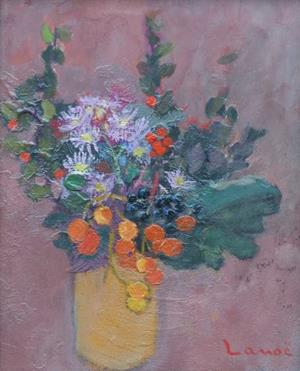 Bouquet au vase orange